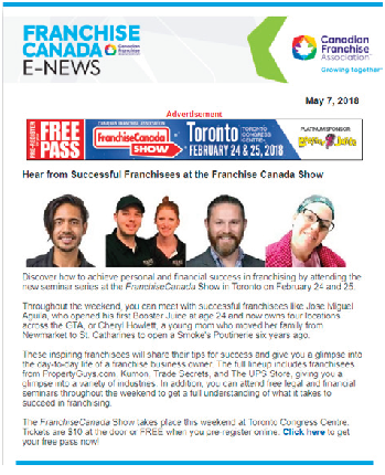 Franchise Canada E-news Sample Image