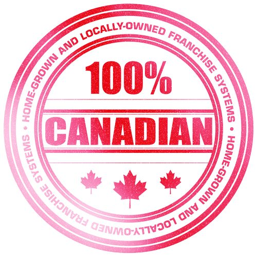 Red 100% Canadian stamp on white background