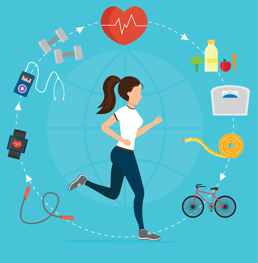 Illustration of exercise-related items