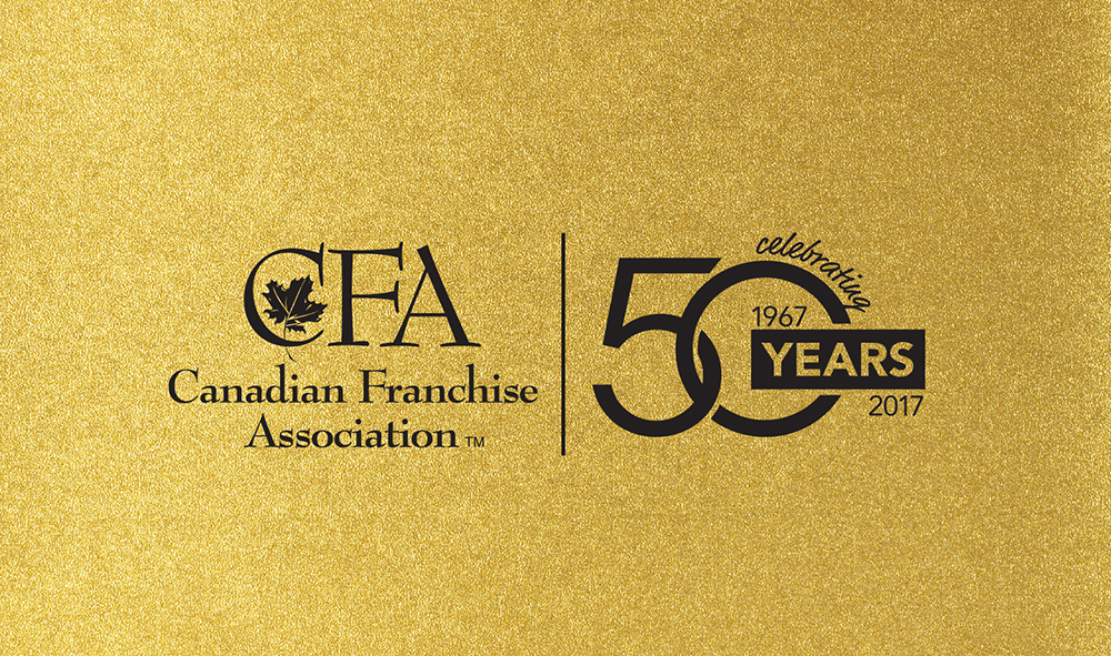 Canadian Franchise Association 50 Years logo on gold background