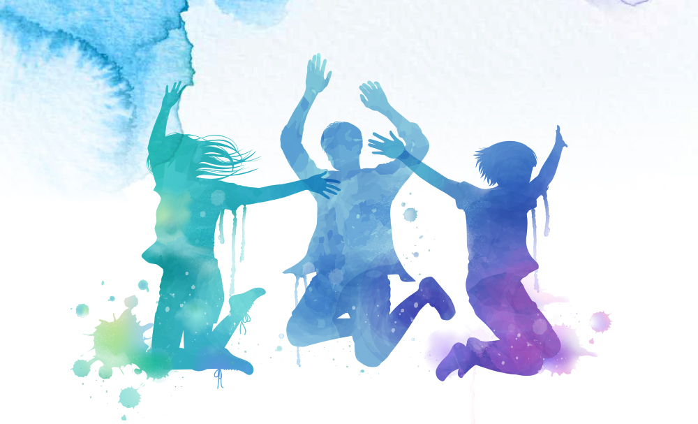 Colourful photo of silhouettes of jumping kids