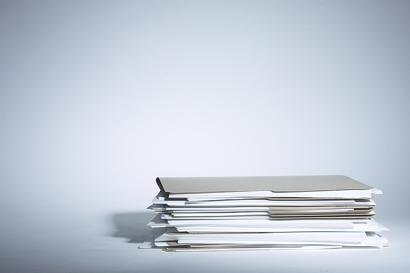 Photo of a stack of files