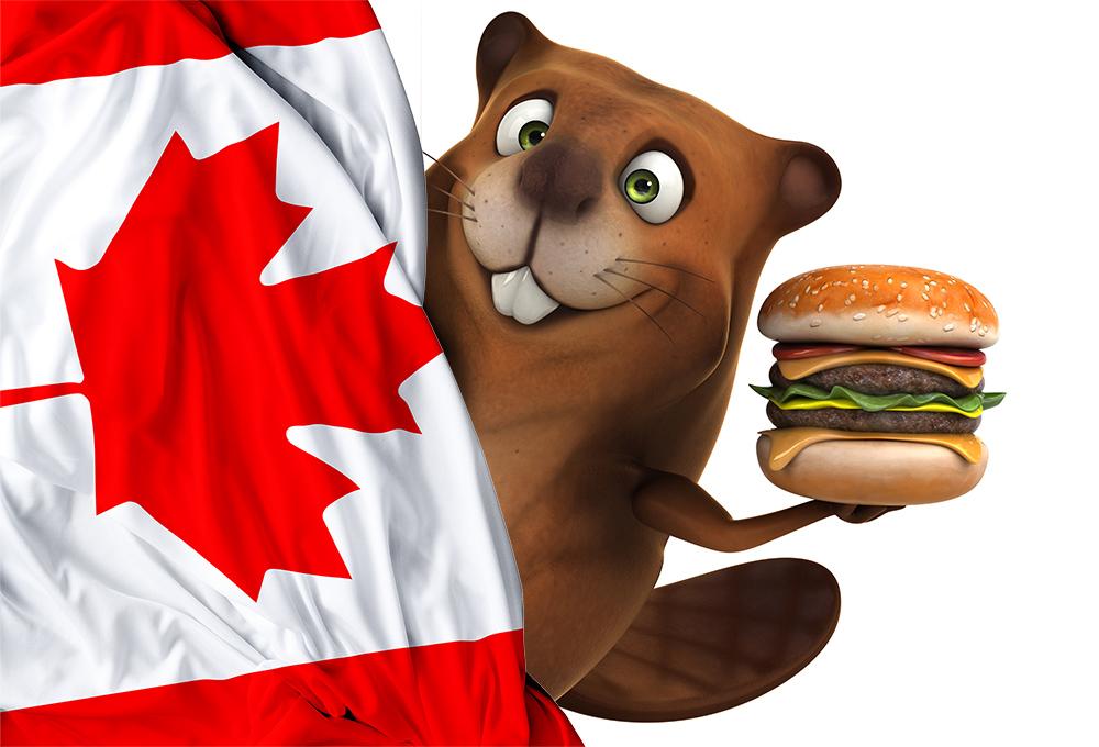 Beaver holding a burger behind a Canada flag