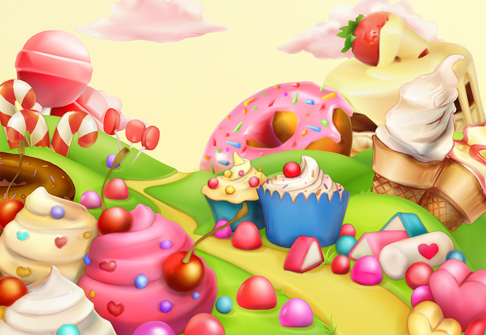 Colourful photo of cupcakes, ice cream, and candy