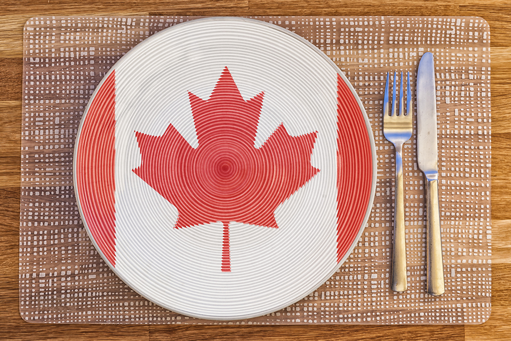 Photo of a Canadian flag on a plate