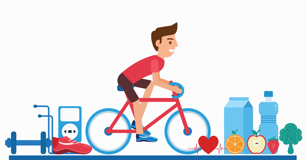 Cartoon illustration of man biking, surrounded by healthy food and fitness equipment