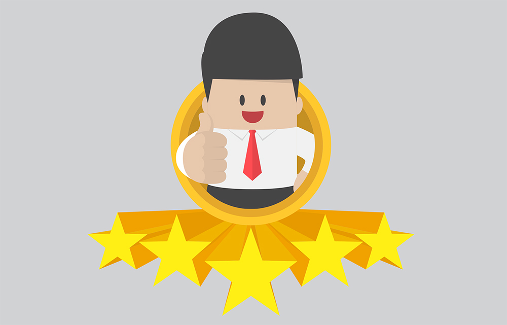 Illustration of a male employee giving a thumbs up sign, with five stars in front of him