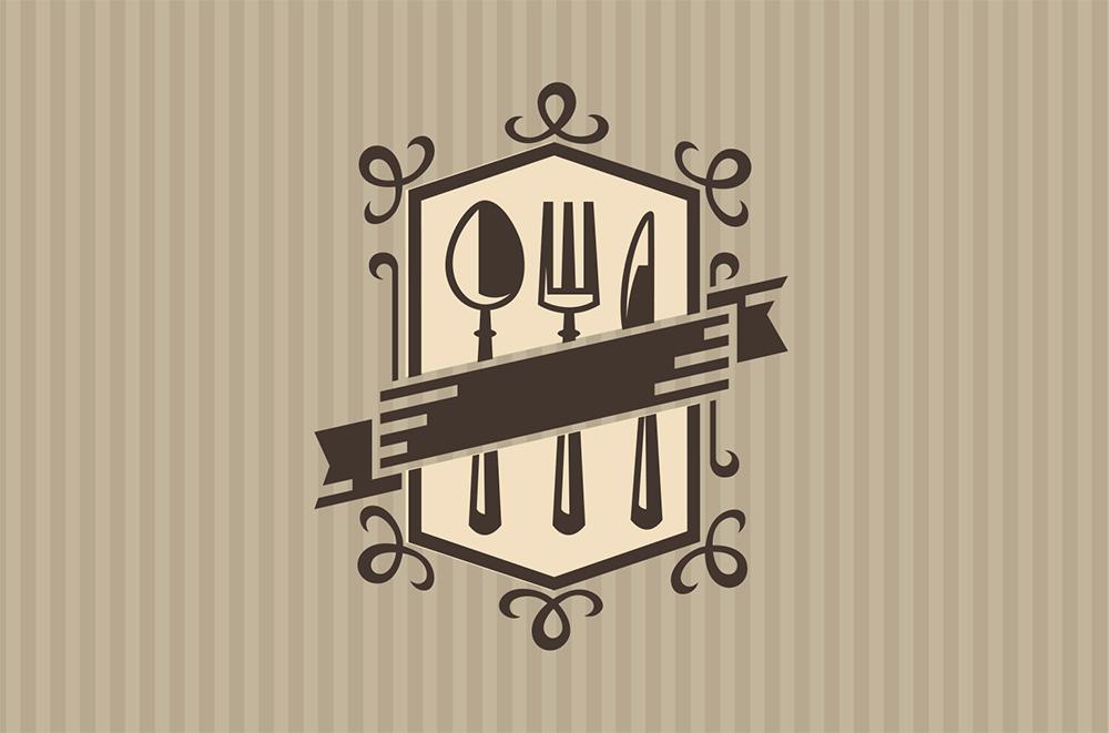 Illustration of brown utensils on a beige background
