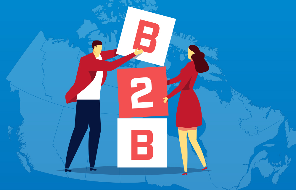 Illustration of man and woman stacking B2B blocks on top of each other