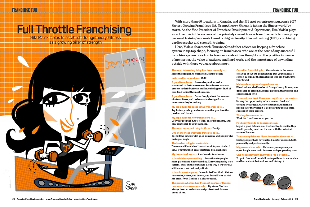 Caricature and franchise fun article featuring Hifa Maleki of Orangetheory Fitness