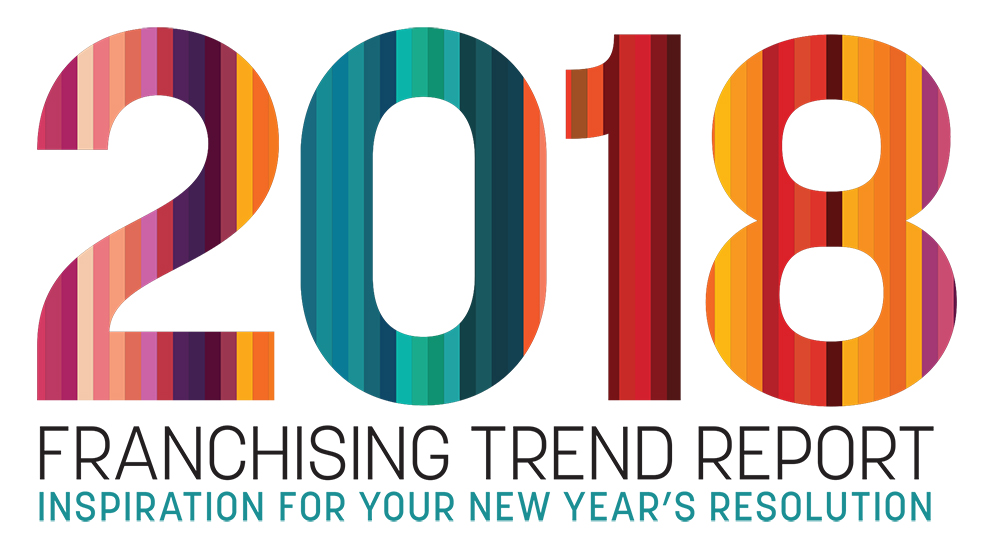 Multicoloured 2018 with Franchising Trend Report text underneath