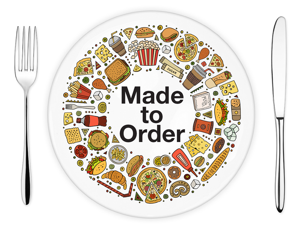 Plate containing illustrations of different food items, along with 'Made to Order' text