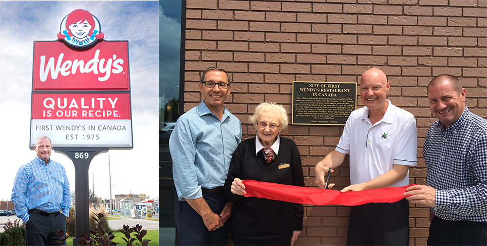 Photo of John Ribson outside his Wendy's location, and photo of the ribbon cutting at the renovated location