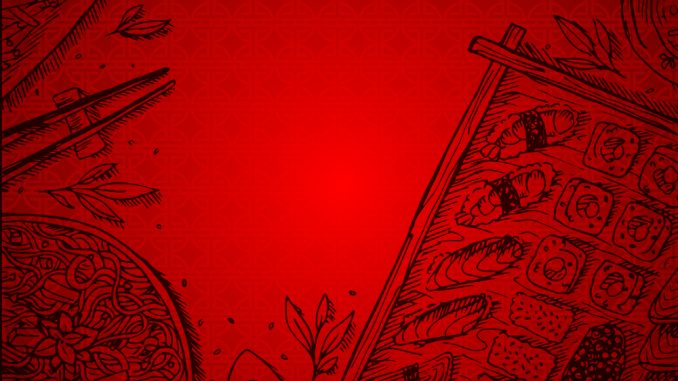 Illustrations of Asian cuisine in black on a red background