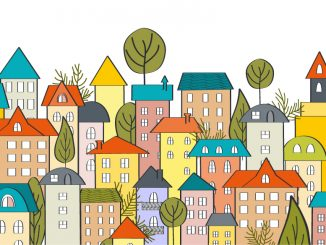 Illustration of different-coloured buildings in a cityscape
