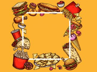 Illustration of quick service food items in a square border on a yellow background