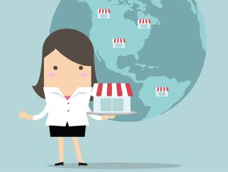 Illustration of a business woman holding a business in front of a map of the world