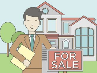 Illustration of a man in a suit next to a for sale sign in front of a house