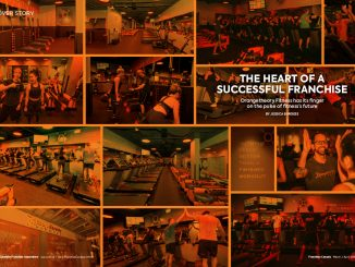 Collage of black and orange photos of inside of Orangetheory Fitness gym