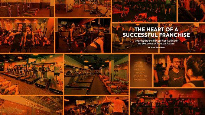 Collage of black and orange photos of inside of Orangetheory Fitness gym